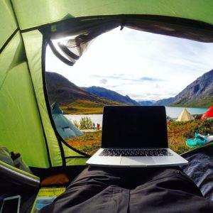 laptop in tent
